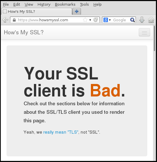 "Screenshot of the website saying ""Your SSL client is Bad"""